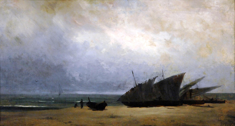 Marina amb barques de Modest Urgell